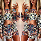 Sexy Women Long Sleeve Floral Printed Jumpsuit Hollow Out Jumpsuit Romper Shorts
