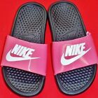 NEW Girl's Youth NIKE BENASSI Black/Pink Slides Flip Flops Sandals Casual Shoes