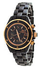 Oniss ON8208-L Women's Gold Tone Accented Multifunction Black Ceramic Watch