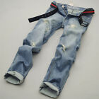 Korean Mens Stylislh Slim Fit Scratched Jean Pants Casual Jeans Skinny Trousers