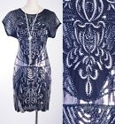 1920s Vintage Dress Gatsby CHARLESTON Clubwear Silver Sequin Art Nouveau AF 3288