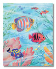 Tropical Striped Ocean Fish in Coral Reef Pastel Wall