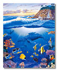 Waterfall Paradise Ocean Fish Whale and Sea Turtle Wall