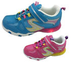 Little Girls Pro Active Light Up Velcro Runners Sneakers Size 7-13 BLU or FUSH