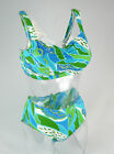 POST SURGERY MASTECTOMY BIKINI SET BLUE/GREEN POCKETED BOTH SIDES UK 32-40 CUP B