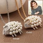 Fashion Imitation Pearl Silver Gold Animal Women Necklace Pendant Sweater Chain