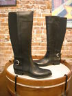 Isaac Mizrahi Toby Black Leather Riding Boots Wide Calf New