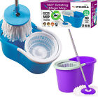 SPINNING MOP 360° KITCHEN 2 MICROFIBRE FLOOR BUCKET CLEANING HEADS ROTATING SPIN