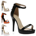 New Womens Strappy Ladies Open Toe Stiletto High Heel Sandals Shoes Size 3-8