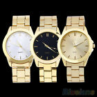 MEN'S WOMEN'S QUARTZ WRIST WATCH ANALOGUE GOLD TONE ALLOY STRAP UNISEX PRETTY