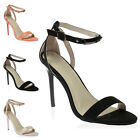 WOMENS BUCKLE ANKLE STRAP LADIES BARELY THERE THIN STILETTO HEEL SHOES SIZE 3-8