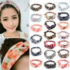 Women Girls Cotton Elastic Turban Twisted Head Wrap Knotted Hair Band Headband