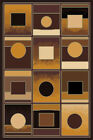 NEW Big Squares Modern Abstract Woven 4x6 Area Brown Actual Size 5'2 x 3'11