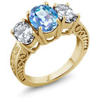 5.30 Ct Natural Millennium Blue Mystic Quartz 925 Yellow Gold Plated Silver Ring
