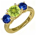 2.64 Ct Yellow Lemon Quartz Blue Sapphire 18K Yellow Gold Plated Silver Ring