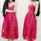 Hollow Spaghetti Strap Long Dress Backless Pleated Beach Lace Sexy Rose Red New