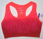 Nwt New Jockey Sport Bra Crop Top Seamless Geometric Dip Dye Orange Neon Miss