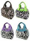 Easy Clean! Laminated Damask Print Lunch Box Tote Bag