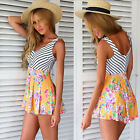 Sexy Beach Jumpsuits Women Summer Casual Rompers Stripe Floral Chiffon Jumpsuits