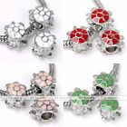 5x White Gold Palted Turtle Tortoise Charm European Bead Fit Braclet Jewelry DIY