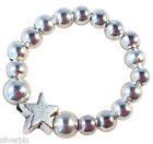 STAR Bead STRETCH RING Finger or Toe with Small Silver Tone Beads on Elastic