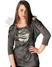 MJCK Harley-Davidson Ladies Studded Floral Grey 3/4 Sleeve Blouse w/ Lace Back
