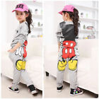 Hot Kid girls Mickey Minnie Tops Hoodies+Pants Sportwear Tracksuit Outfits 5size