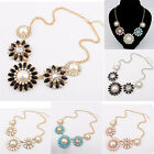 New Charm Jewelry Flower Pearl Rhinestone Chain Choker Statement Bib Necklace