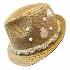 Elegant Womens Imitated Pearl Rivet Wide Large Cap Outdoor Beach Sun Hat Visor