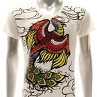 w41 M L XL Japanese Irezumi Tattoo VNECK T-shirt Phoenix Never Die Men Fashion