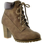 Women&#039;s Ankle Boots Lace Up Booties Chunky Stacked High Heel Rugged Padded Shoes <br/> Black, Brown, Gray, Navy, Pink, Camel, Taupe /w Buckles