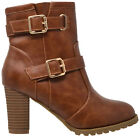 Women's Ankle Boots Lace Up Booties Chunky Stacked High Heel Rugged Padded Shoes <br/> Black, Brown, Gray, Navy, Pink, Camel, Taupe /w Buckles