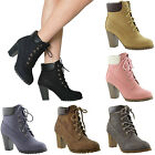 boot lace up - Women's Ankle Boots Lace Up Booties Chunky Stacked High Heel Rugged Padded Shoes