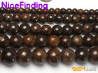 "Natural Round Brown Bronzite Stone Beads For Jewelry Making Loose Beads 15"" DIY"