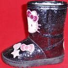 NEW Girls Toddlers HELLO KITTY  Black/Pink Glitter Faux Fur Casual Fashion Boots