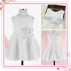 Kids White Christening Wedding Flower Girls Party Dresses AGE SIZE 2-3-4-5-6-7Y