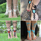 Lady Girl Crochet Foot Ankle Anklet Cotton Barefoot Sandals Chain Toe Ring Gift