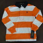 NWT Ralph Lauren Boys Long Sleeve Orange Striped Rugby Shirt Sz 3/3t NEW $45 6f