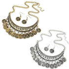 Womens Boho Necklace+Earrings Dress Jewelry Party Necklace Casual Beach Pendants