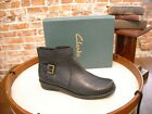 Clarks Black Crinkled Leather Nikki Star Buckle Ankle Boot New