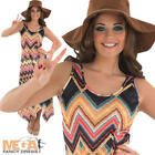 Hippie Long Trendy 1960s Zig Zag Ladies Fancy Dress Hippy Costume Outfit + Hat