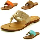 Women's Thong Sandals Buckle Accent Strap Flip Flops Slip-On T-Strap Slide Flats