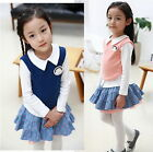NEW Girl Kids Outfit School Student Top Shirt+Dot Skirt Tutu Dress 2-7Y Clothes