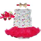 Newborn Girl Toddle Baby Infants Dresses Outfits Tutu 1Set Romper+Headband+Shoes