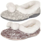 Ladies Dunlop Slip On Fur Lined Pom Pom Ballerina Slippers Shoes Size  Womens