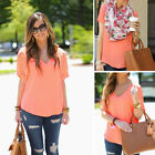 Sexy Womens V-neck Chiffon Short Sleeve Casual Blouse Loose Tops T-Shirt 10-16