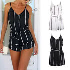 Sexy Ladies Summer Beach Stripe Playsuit Jumpsuit Shorts Romper Strappy Trousers