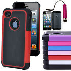 Hybrid Rugged Rubber Matte Hard Case Cover for iPhone 5 5G 5th + Stylus /Film HK