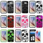 For Samsung Galaxy S6 Skull Hybrid Dual Layer Silicone Hard Case Cover+Protector