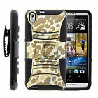 For HTC Desire 816 Holster Clip Case Armor Rugged Hybrid Gel Hard Stand Cover